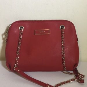 DKNY Red Saffiano leather crossbody bag  w chain